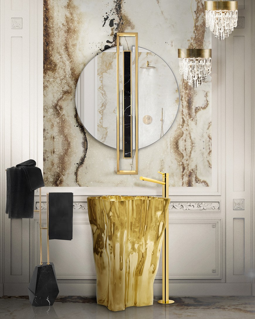 5 Gold-Accented Wall Mirrors To Enhance Your Luxury Bathroom Decor luxury bathroom 5 Gold-Accented Wall Mirrors To Enhance Your Luxury Bathroom Decor 5 Gold Accented Wall Mirrors To Enhance Your Luxury Bathroom Decor 4