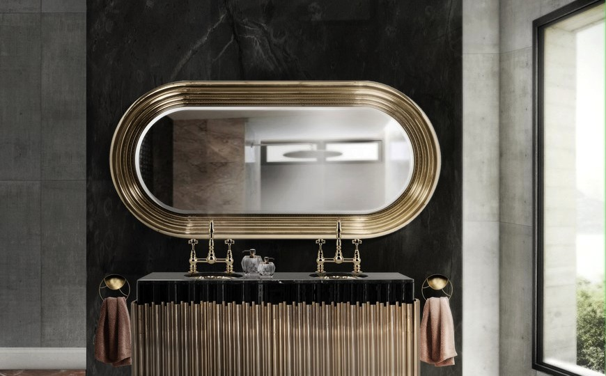 5 Gold Accented Wall Mirrors To Enhance, Luxury Vanity Mirror With Lights