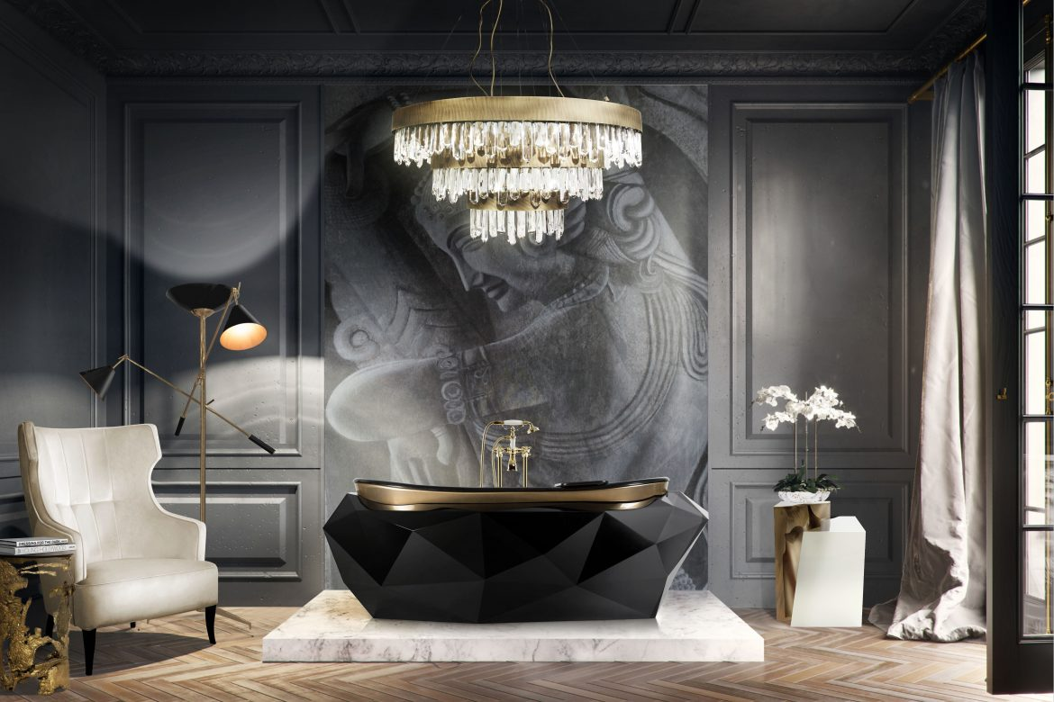 black bathroom, bathroom, black, bathroom design, bathtub, washbasin, maison valentina black bathroom A 3-Step Guide to Design a Chic Black Bathroom Summer Trends Report How to Get the Hottest Bathroom Design 1 scaled