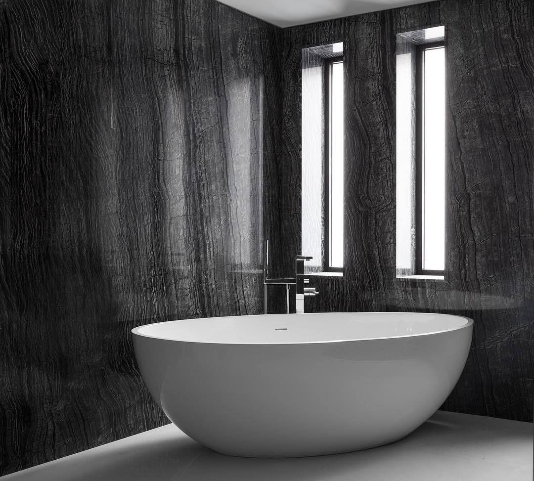 Marble Bathrooms, maison valentina, freestanding, bathtub, marble, bathroom, bathrooms design marble bathrooms Gorgeous Black and White Marble Bathrooms You Won't Be Able to Resist Carlyle Designs Marble Bathroom