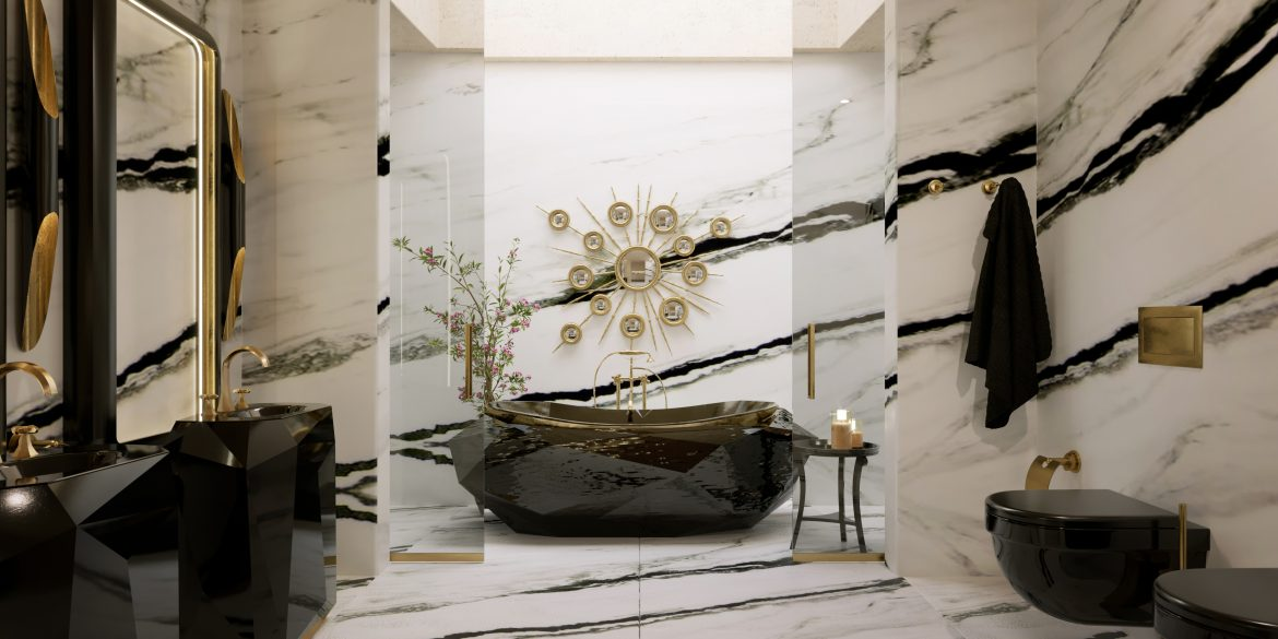 Marble Bathrooms, maison valentina, freestanding, bathtub, marble, bathroom, bathrooms design marble bathrooms Gorgeous Black and White Marble Bathrooms You Won't Be Able to Resist Marble Bathrooms 1 scaled