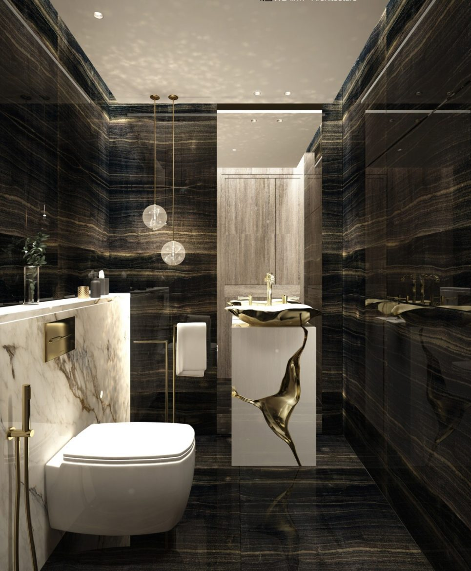 Marble Bathrooms, maison valentina, freestanding, bathtub, marble, bathroom, bathrooms design marble bathrooms Gorgeous Black and White Marble Bathrooms You Won't Be Able to Resist Marble Bathrooms WD Firm 2 scaled