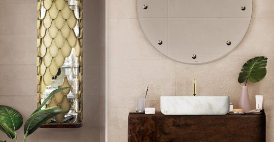 small bathroom decors 6 Ideas to Create Small Bathroom Decors that Will Make a Statement Bathroom with Wood Accents 4 2 540x280 luxury bathroom 24 Stunning Luxury Bathroom Ideas For His-and-Hers Bathroom Sinks Bathroom with Wood Accents 4 2 540x280