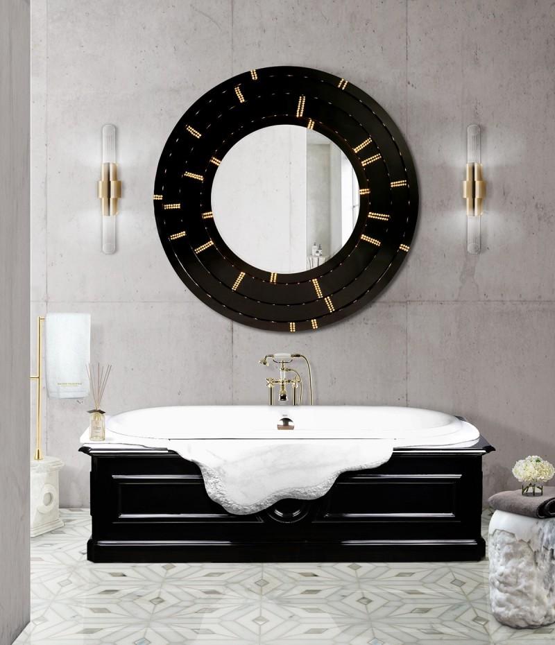the petra collection The Petra Collection: An Ideal Bathroom Décor black and white bathroom decor with blaze mirror and petra bathtub 1