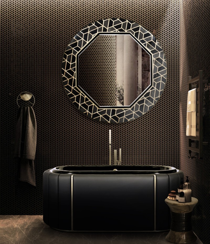 Darian Collection: An Amazement to the Senses darian Darian Collection: An Amazement to the Senses dark bathroom with darian bathtub and tortoise mirror 1